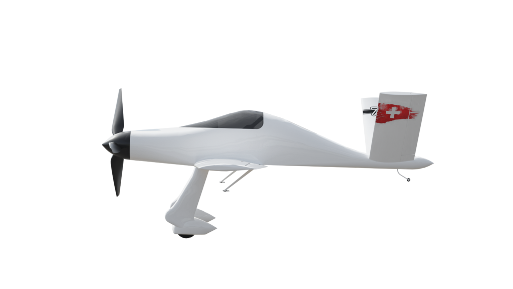 Profile view of electric swiss racing plane