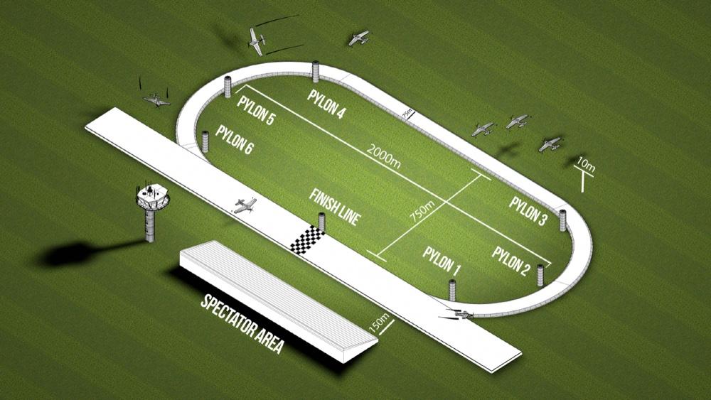 Schéma du circuit de course Air Race E