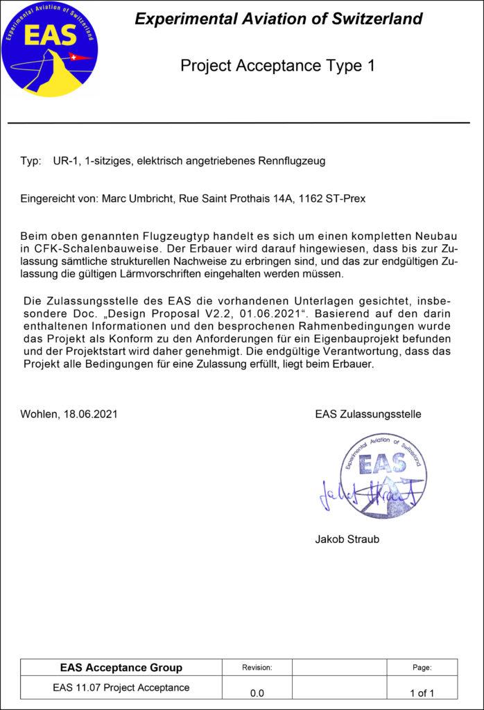 Lettre en allemand confirmant l'approbation du projet UR-1 par EAS (Project Acceptance Type 1)