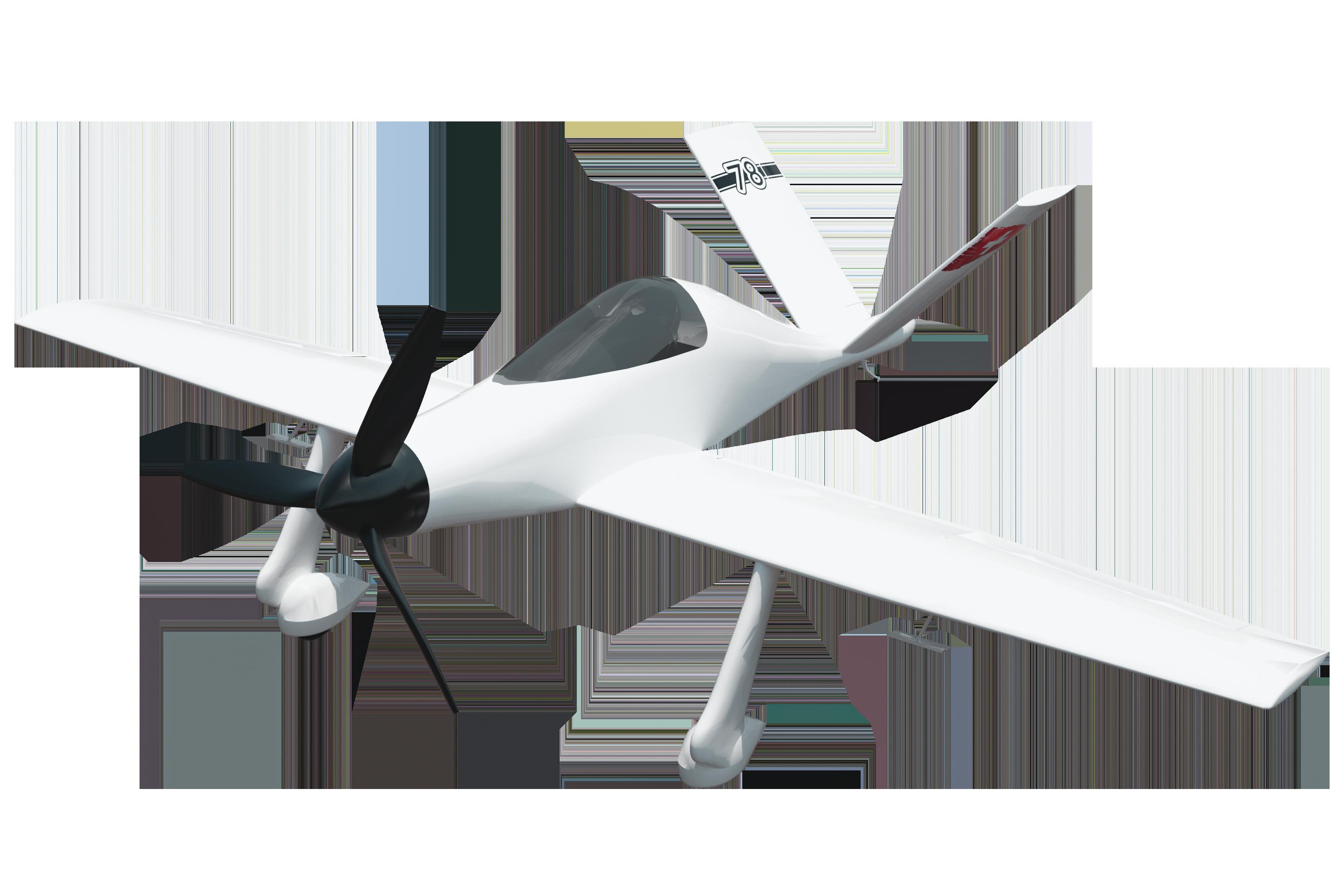 Vue 3/4 de l'avion de course suisse électrique UR-1