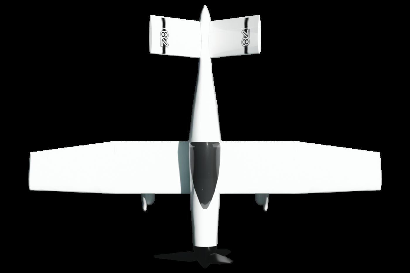 Vue du dessus de l'avion de course suisse électrique UR-1